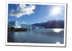 The Beautiful blue Ice of the Perito Moreno Glacier, Patagonia, Argentina, shimmering on the sunshine. A First Timer's Guide to Argentina