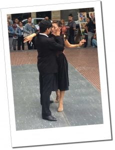 A couple Tango for a crowd in Buenos Aries, Argentina