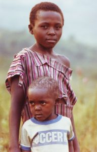 Two African Children on the Savana, Uganda, Africa