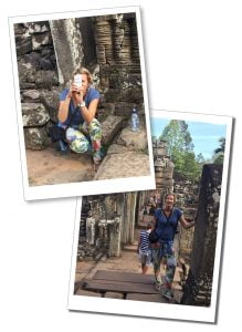 SueWhereWhyWhat standing with her camera in the doorway of a Bayon Temple, Cambodia