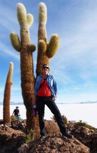 SWWW by a giant cactus, Bolivia, Salar de Uyuni (Salt Flats)