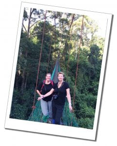 SueWhereWhyWhat & friend, hanging bridges, Costa Rica