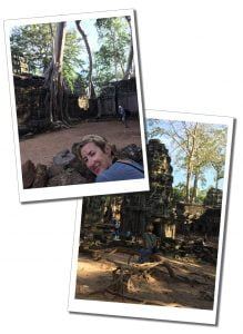 SueWhereWhyWhat investigates the tree entwined ruins of Ta Prohmn, Temple, Cambodia