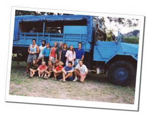 SueWhereWhyWhat and her fellow travellers by the big truck, Serengeti National Park, Tanzania - Feb 1992
