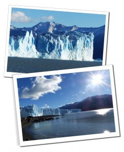 The Beautiful blue Ice of the Perito Moreno Glacier, Patagonia, Argentina, shimmering on the sunshine