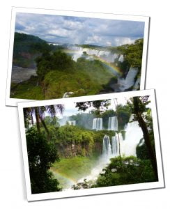 The beautiful Iguazu Falls, look like a glimpse into pre-history a mass of rainbows, spray and lush green vegetation