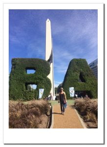 SueWhereWhyWhat is framed by two giant 'topiary' hedges in the shape of letters B & A to signify Buenos Aries