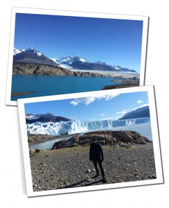 SueWhereWhyWhat standing by a deep blue lake at the head of the glacier in the sunshine of El Calafate, Perito Moreno, Patagonia, Argentina