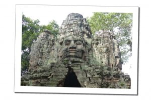 The amazing 'faces' of Bayon, Carved into the stone walls of the temples, Cambodia