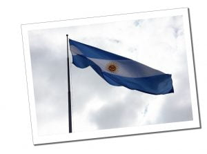 The Argentinian flag, flys over Buenos Aries