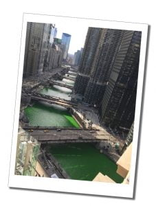 The view on a sunny day from London House, Chicago - For the St Patricks Day parade they turned the river green, USA