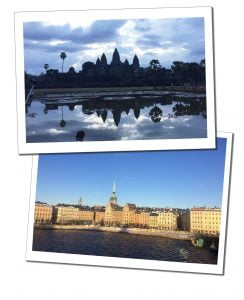 Angar Wot temple, Cambodian and the water front of Stockholm, Sweden