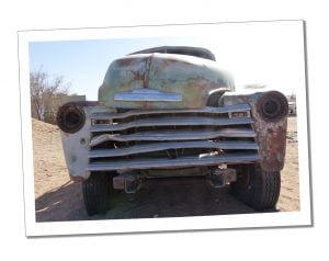 Solitaire (a service station, photogenically populated by abandoned old cars & trucks) the Tropic of Capricorn