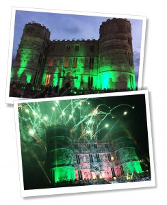 Closing fireworks light up the castle frontage at Bestival Festival, Dorset England