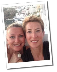 SueWhereWhyWhat and sister, Santorini, Greece