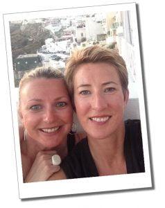 SueWhereWhyWhat and sister, Santorini, Greece