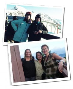 SueWhereWhyWhat with a friend skiing, Olympic Village, Whistler, Canada & Sepilok Borneo