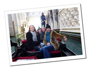 SueWhereWhyWhat taking a Gondola ride with the family in Venice, Italy