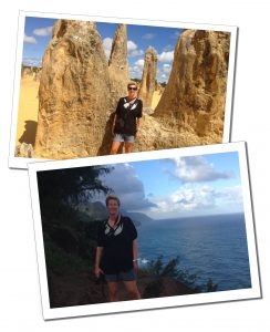 SueWhereWhyWhat during hikes to the Pinnacles in Australia and the Hanakapiai Trail in Hawaii