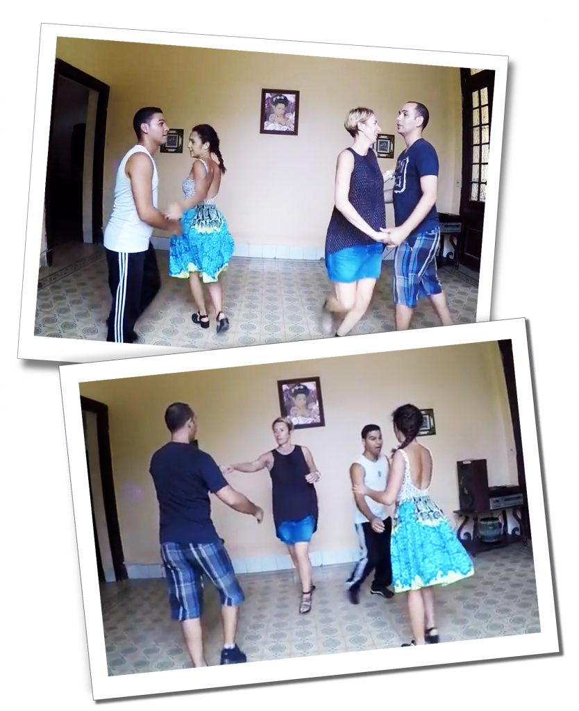SueWhereWhyWhat and a fellow pupil learns Salsa in Havana Cuba