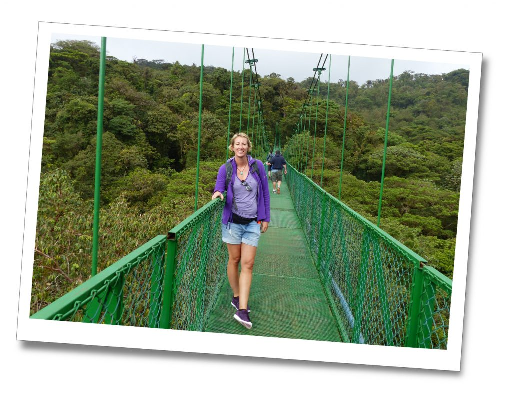 SueWhereWhyWhat on a hanging bridge in the cloud forest of Monteverde, Costa Rica