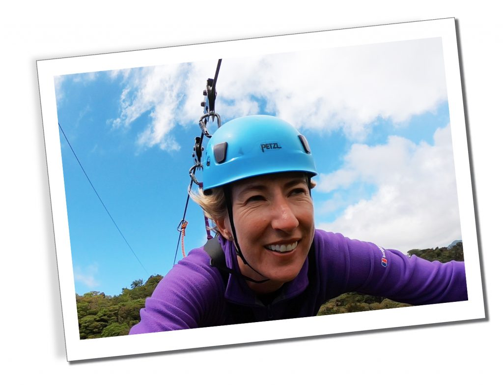 SueWhereWhyWhat in Monteverde, Ziplining solo on the 'Superman' in Costa Rica