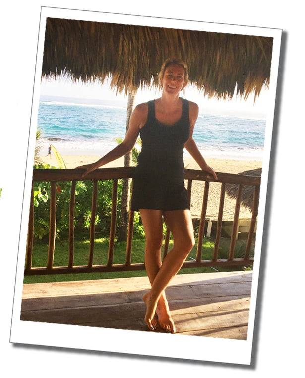 SueWhereWhyWhat at Yoga Shala Cabarete, with the beach as a beautiful backdrop