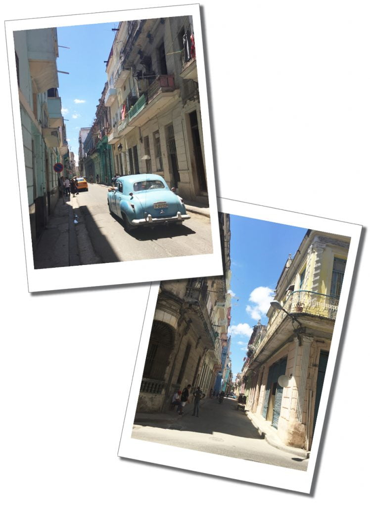 The backstreets of Havana Vieja, sees a blue car and people standing in the shade, Cuba
