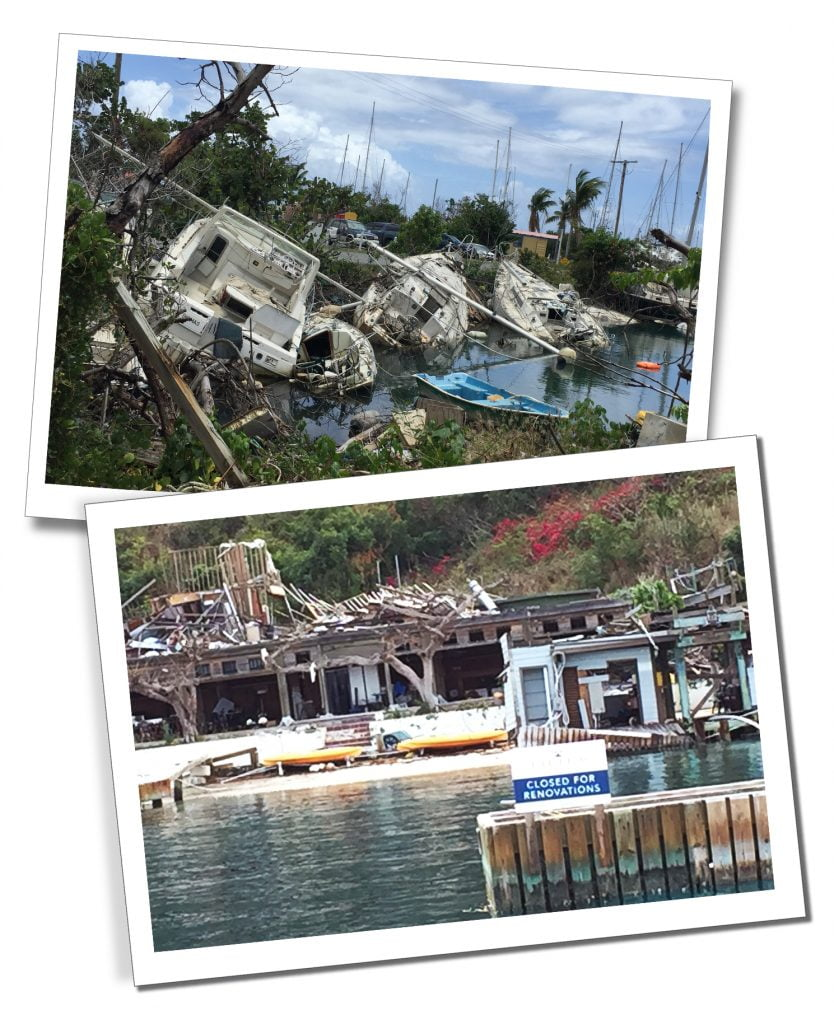 Scuppered ships at Nanny Quay, Bahamas, Caribbean and hotels waiting for restoration to take place