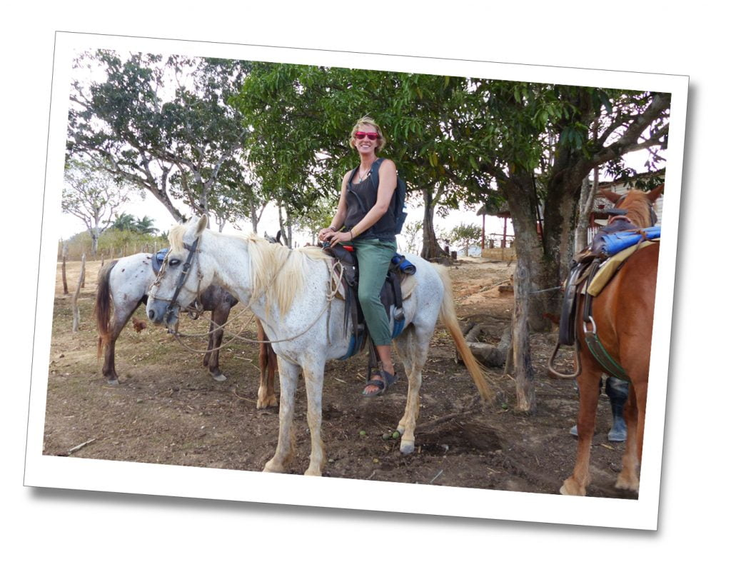 SueWhereWhyWhat Horse Riding on a grey horse with beige mane, Viñales, Cuba