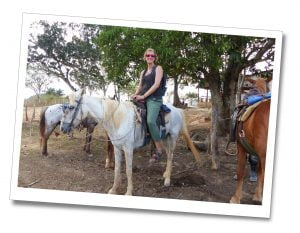 SueWhereWhyWhat Riding on a grey horse, Viñales, Cuba