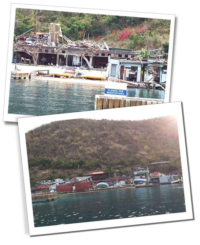 Waiting for restoration to take place, the destroyed hotels at Bitter End, Virgin Gorda, Caribbean.