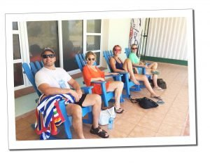 SueWhereWhyWhat between classes with the instructors from Mhai Yoga, Viñales, Cuba