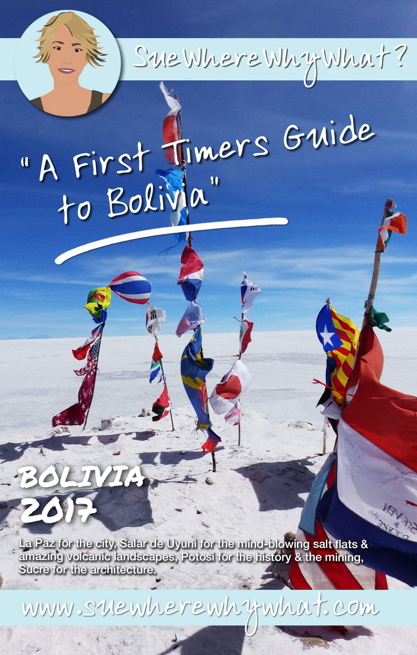 A First Timer\'s Guide to Bolivia. Includes advice on Money, Transport, how to deal with the Altitude, Shopping, Healthcare, Traditions & all the Basics you need to know for a First Time Visit. Also where to stay, eat & drink in La Paz, Potosi & Sucre.  https://www.suewherewhywhat.com/countries/bolivia/first-time-in-bolivia