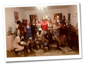 SueWhereWhyWhat with the yoga group & their Salsa instructors. Viñales, Cuba