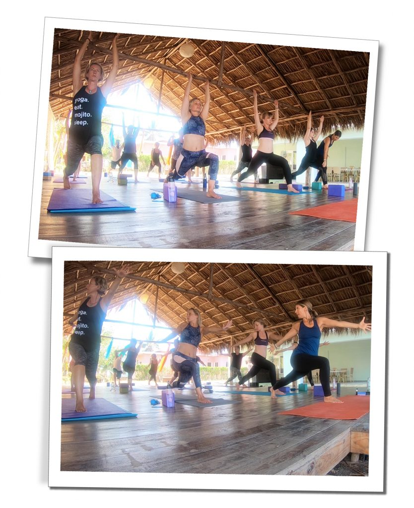 SueWhereWhyWhat & a class demonstrating Yoga, at retreat insider, Viñales, Cuba