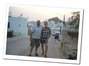SueWhereWhyWhat with husband Terry at dusk on a road in IOS, Greece