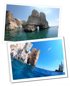 Beautiful views of the rocks along the coast of Milos at Kleftiko & Polyagos as they rise from the azure shimmering sea