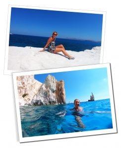 SueWhereWhyWhat reclines on the stunning white rocks of Milos & swims set in inviting azure seas, Greece