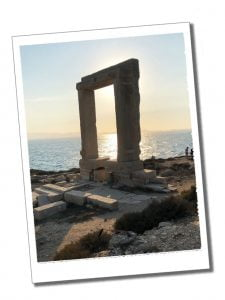 Portara, Apollos Temple, the ruined arch at first daylight on the shores of Naxos, Greece