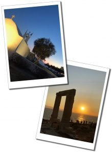 Crowds gather at Portara, Apollo's Temple, the ruined arch at sunset on the shores of Naxos