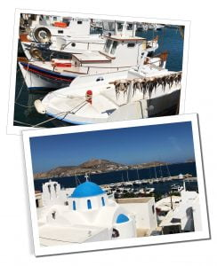 Boats at Naoussa, the small harbour in Paros, Greece