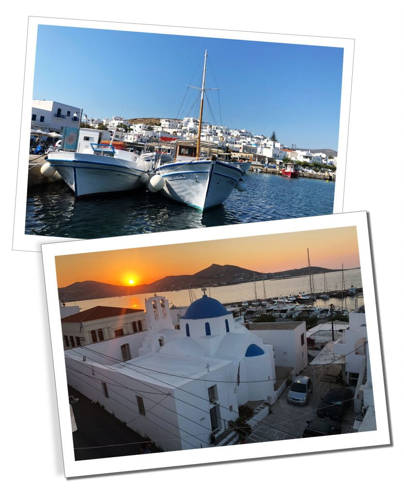 The Port during the day and a beautiful sunset above the white buildings of Paros, Greece
