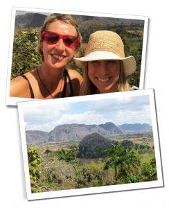 SuewWhereWhyWhat & retreat organiser Kathy, & Views of the Karsts & vegetation of Viñales, Cuba