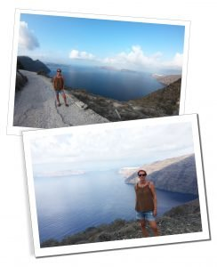 SueWhereWhyWhat on the walk from Fira to Oia, Santorini, Greece