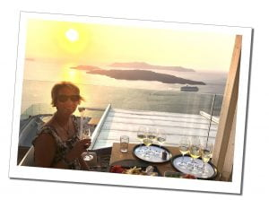 SueWhereWhyWhat wine tasting at sunset, Santorini, Greece.