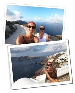 SueWhereWhyWhat & friend, Fira to Oia, Santorini, Greece