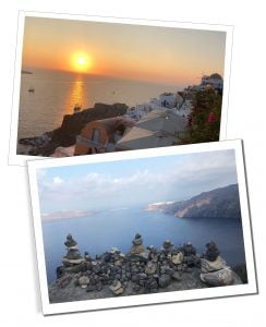 A stunning sunset over Santorini's whitewashed buildings & piles of stones on the walk from Fira, overlooking the bay