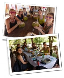 SuewhereWhyWhat with her Yoga Group, at lunch when horse riding in Viñales, Cuba