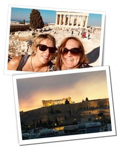 SueWhereWhyWhat and friend at The Acropolis, Athens, Greece